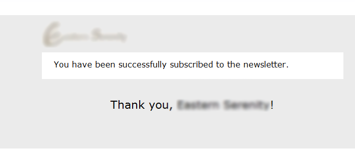 Newsletter signup confirmation